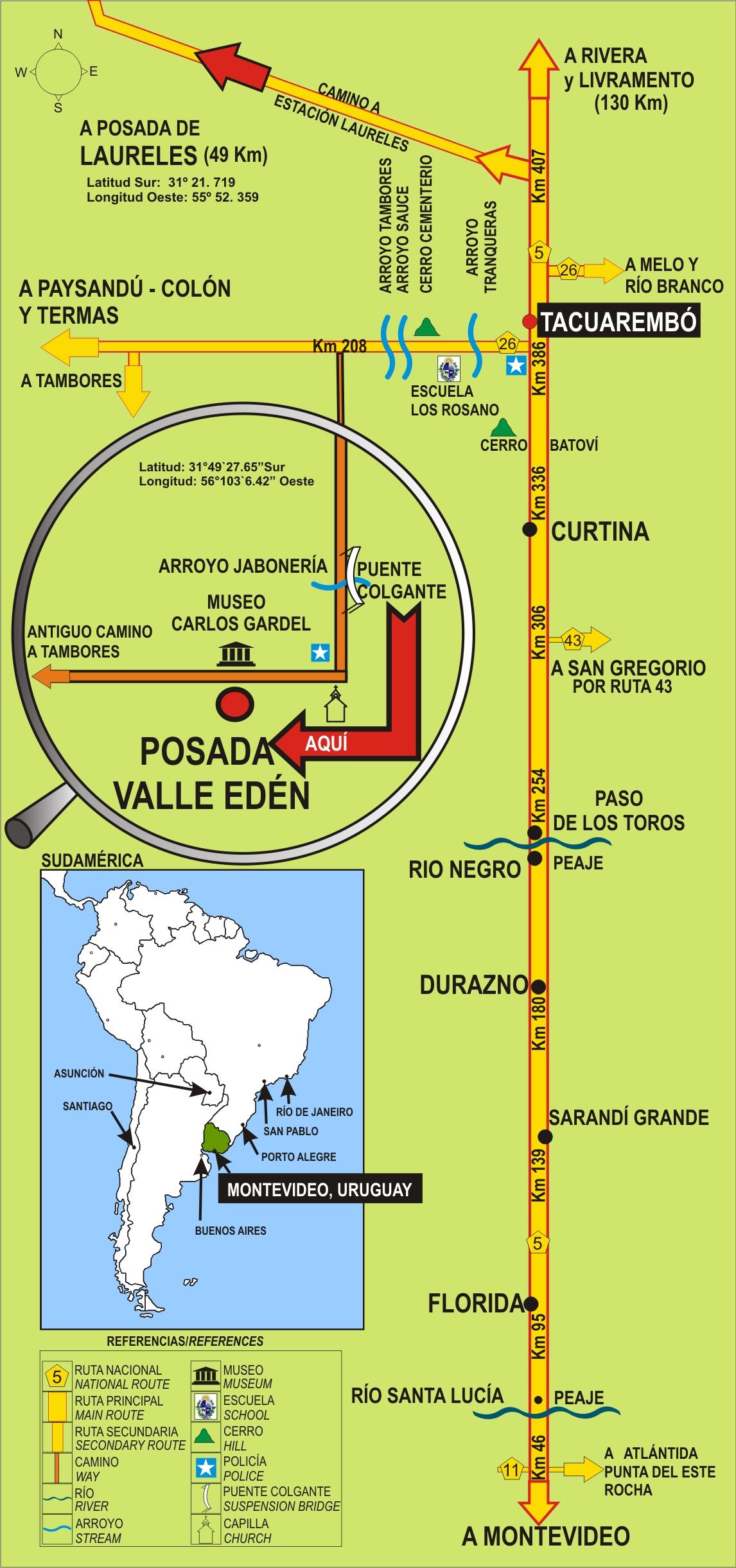 C mo llegar posada valle ed n tacuarembo uruguay for Mueblerias por calle rivera montevideo